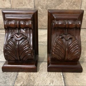 Selamant Designs Mahogany Wood Carved Bookends
